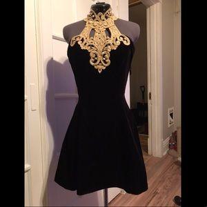 Vintage Black Velvet, Gold Appliqué Halter Dress